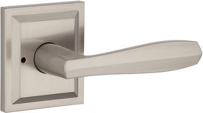 Baldwin Torrey Pines Privacy Lever for Bedroom, Bathroom Door Handle (Satin Nickel)