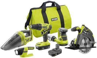 RYOBI 18V ONE+ Cordless 5-Tool Combo Kit w/ 2x 1.5 Ah Batteries, Charger & Bag