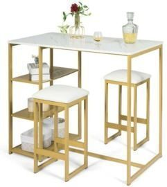 3pc. Gold Dining Set w/ Faux White Marble Table Top + 2 Stools