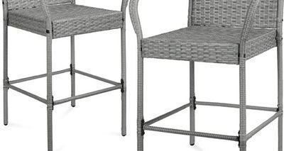 Set Of 2 Indoor Outdoor Wicker Bar Stools