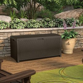 Outdoor Java Wicker 99 Gal. Resin Deck Box