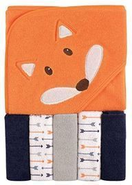Luvable Friends Unisex Baby Hooded Towel w/ 5 Washcloths
