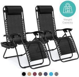 Ending Soon! Set Of 2 Adjustable Zero Gravity Patio Chair Recliners W/ Cup Holders