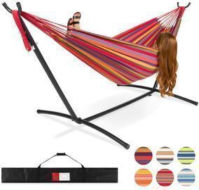 2 Person Brazilian Style Double Hammock W/ Carrying Bag And Steel Stand
