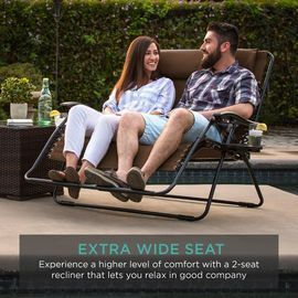 2 Person Double Wide Zero Gravity Chair Lounger W/ Cup Holders, Headrest