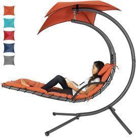 Curved Chaise Lounge Chair w/ Removable Canopy (Blue or Orange)