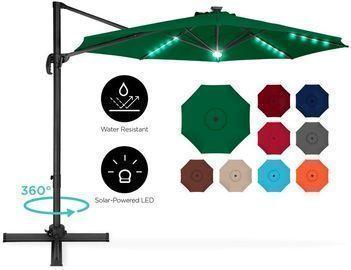 360 Degree Led Cantilever Offset Patio Umbrella W/ Tilt, 10ft
