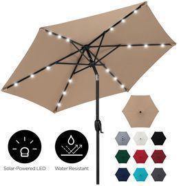 7.5ft Outdoor Solar Patio Umbrella W/ Push Button Tilt, Crank Lift