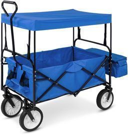 Utility Wagon Cart W/ Folding Design, 2 Cup Holders, Removable Canopy
