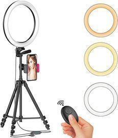 Aptoyu 12 LED Selfie Ring Light w/ Tripod Stand