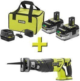 RYOBI 18V ONE+ Reciprocating Saw w/ Batteries & Charger