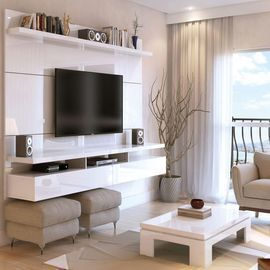 72 White Gloss Composite Floating Entertainment Center