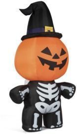 Giantex 5' Halloween Capped Pumpkin Skeleton Inflatable Decoration