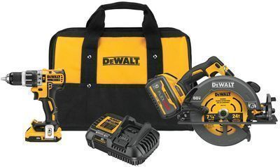 DeWALT Flexvolt 60V Brushless 7-1/4 Circular Saw + 1/2 Hammer Drill Combo Kit