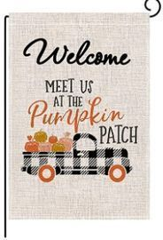 Autumn Pumpkin Buffalo Check Garden Flag