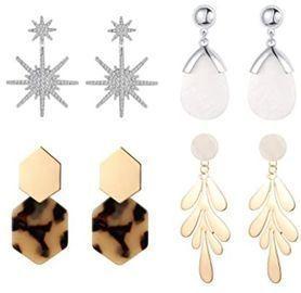 Drop Dangle Earrings - 4pk