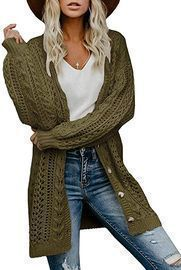 YeMgSiP Women's Oversized Cable Knit Cardigan (5 Colors)