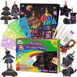 ZMLM 107 Pcs Rainbow Magic Scratch Paper Art Set