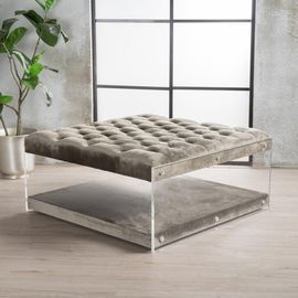 35x35 Massimo Grey Square Ottoman by Noble House