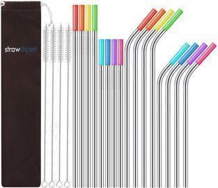Set of 16 Reusable Stainless Steel Straws