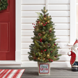 Holiday Time Pre-lit Incandescent Potted Pine Christmas Tree