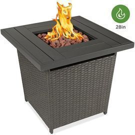 28in Fire Pit Table 50,000 BTU Wicker Propane w/ Faux Wood