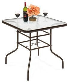 32in Outdoor Round or Square Tempered Glass Bistro Table