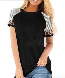 Women's Short Sleeve Leopard Color Block Shirts