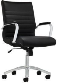 Realspace Modern Comfort Winsley Bonded Leather Mid-Back Manager's Chair, Black/Silver