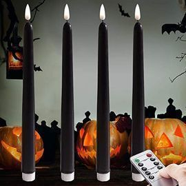 Dark Black Flameless Taper Candles, 4pk