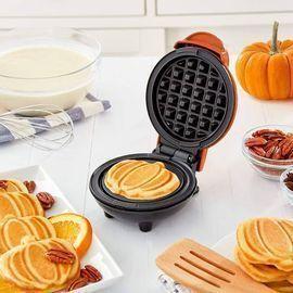Mini Waffle Maker, 4 inch, Orange Pumpkin