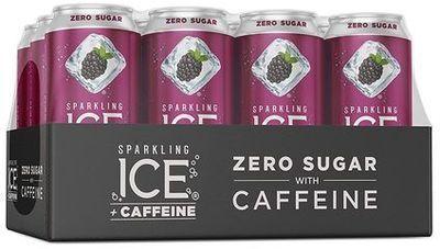 Sparkling Ice +Caffeine Black Raspberry Sparkling Water - 12pk