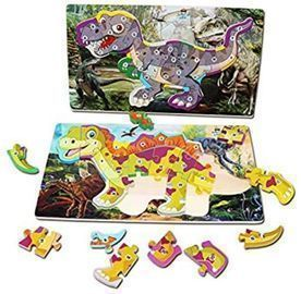Arkmiido 2 Pack Wooden Dinosaur Puzzles