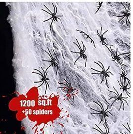 Stretchable Spider-Web Decor w/ 50 Plastic Spiders