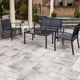 4-Piece Walnew Metal Patio Conversation Furniture Set