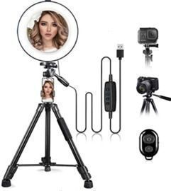 10 Ring Light with Stand + Phone Holder