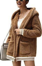Chigant Womens Fleece Hooded Coat Winter Oversized Teddy Sherpa