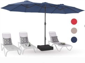 MF Studio 15-Ft. Outdoor Patio Table Umbrella w/ Stand