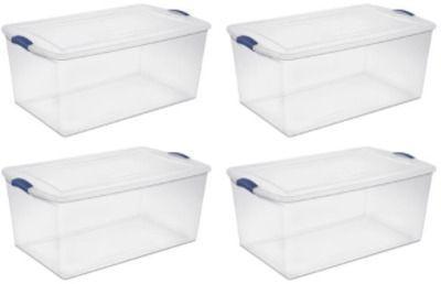 Sterilite 105 Qt. Latch Box Stadium Blue - Set of 4