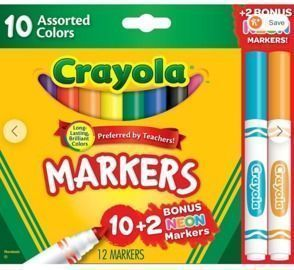 12-Count Crayola Markers Assorted Colors Bonus Pack