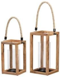 StyleWell Natural Mango Wood Lanterns - Set of 2