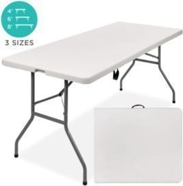 6ft Portable Folding Plastic Dining Table w/ Handle