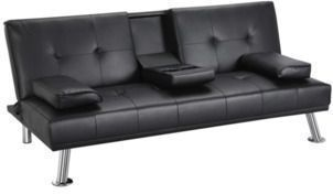 LuxuryGoods Leather Futon w/ Cup Holders