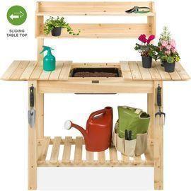 Wood Garden Potting Bench w/ Sliding Tabletop
