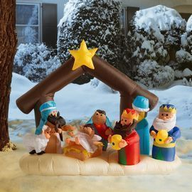 Christmas Nativity Scene Under Stable Decoration Inflatable