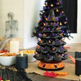 Pre-Lit 15 Ceramic Halloween Tree