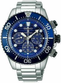 Seiko Men's Prospex Chronograph Solar Stainless Steel Diver's Watch