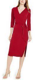 INC Side-Tie Faux-Wrap Dress