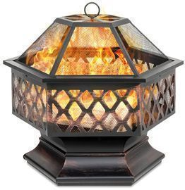 Hex-Shaped 24 Outdoor Fire Pit w/ Flame-Retardant Lid