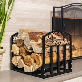 Wrought Iron Firewood Log Stacking Storage Rack Accessory